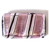 Glass Lamp Bead 22x14mm Rectangle Amethyst/Silver